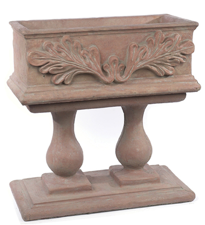 """32"""" Rectangle Leaf Planter with Two Column Pedestal"""