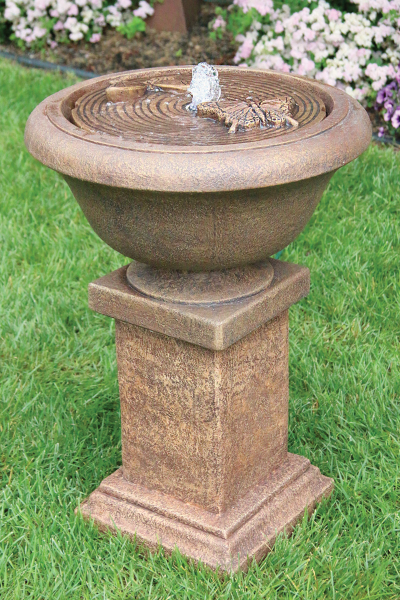"30"" Chesire Fountain with Butterflies on Square Pedestal"