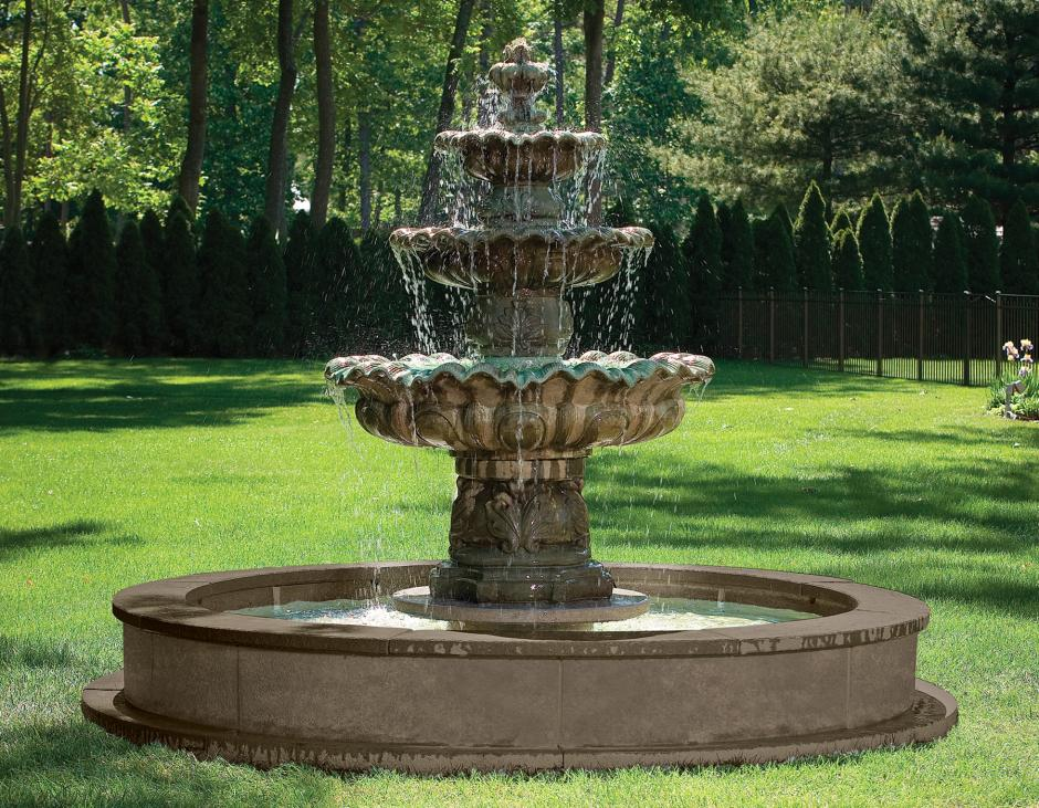 """77"""" 3-Tier Scallop Overflow Fountain (No Pool)"""