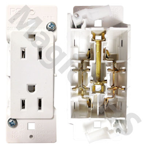 Snap on receptacle white