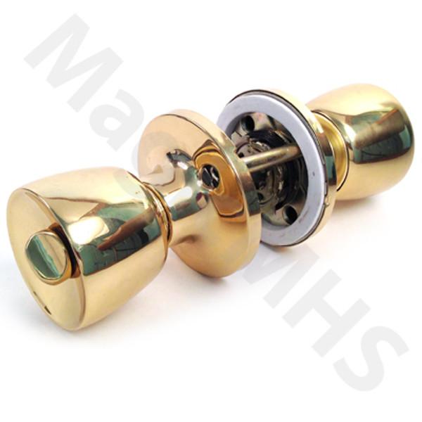Combination Lockset & Deadbolt Door Knob Set - Polished Brass