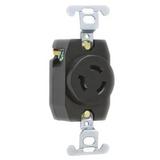 4560  Pass & Seymour  Black 1 Gang Nylon Power Socket, NEMA L6-15R, 15A, Flange Mount