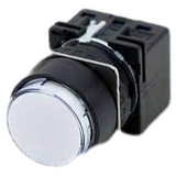 LB1P-1T04W   Switch Pilot Light, Wht, 24VAC/DC, LED, Full Voltage, 16mm Mounting, Round Extended Lens, Solder Tab