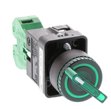 GCX3252-120L  AutomationDirect selector switch, 22mm, 2-position, maintained, LED illuminated, (1) N.O. contact(s), plastic base, plastic bezel, Operator: green, knob, 30mm, round, plastic, 120 VAC/VDC, full voltage.