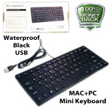 Black Mac + PC Quiet Small Size 78 Keys Mini Multimedia USB Waterproof Keyboard For Laptop