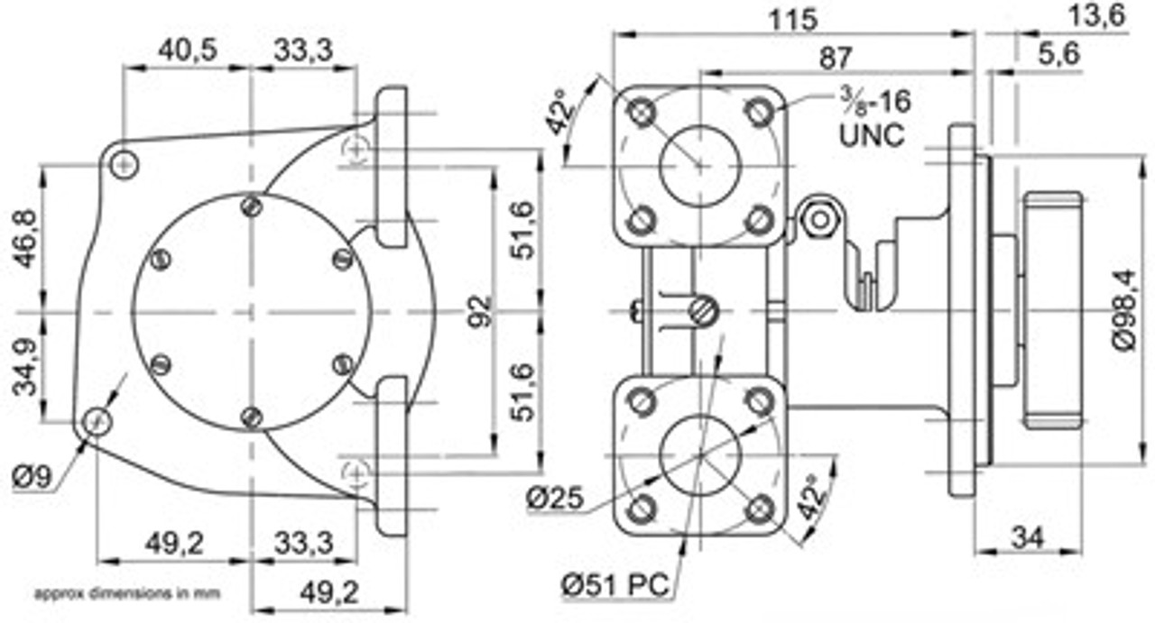 Dimensions for flanged version - Perkins M90 Raw Water pump from parts4engines.com