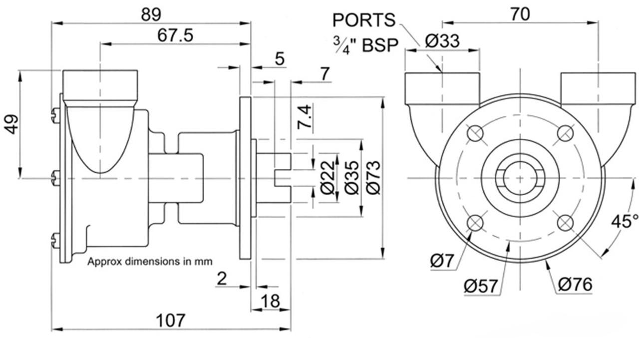 Perkins 4.107 pump dimensions