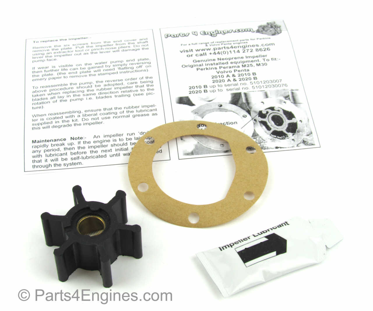 Perkins Perama M30 raw water pump impeller kit - parts4engines.com