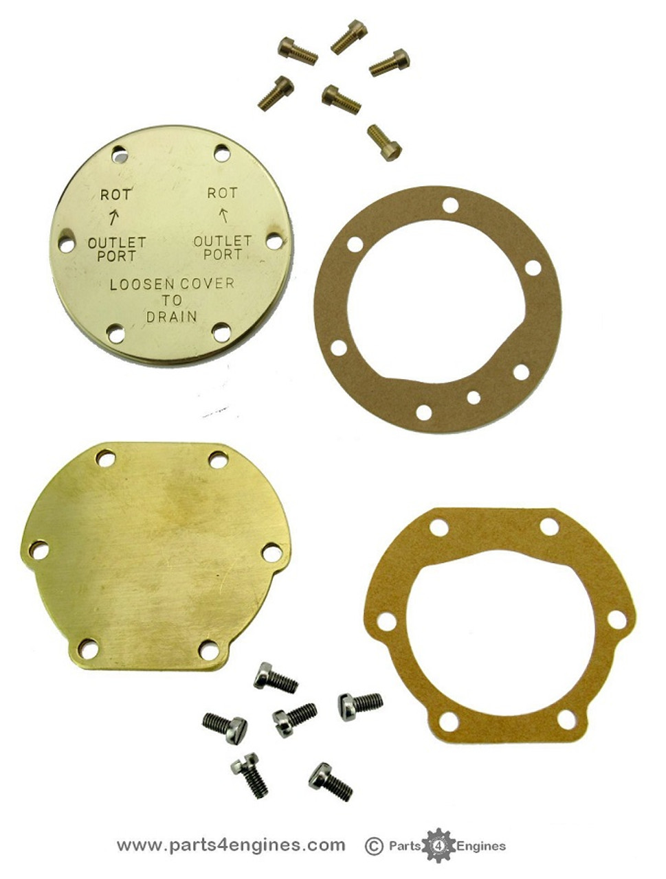 Volvo Penta MD2020 raw water pump EARLY and LATE End Cover kit - parts4engines.com