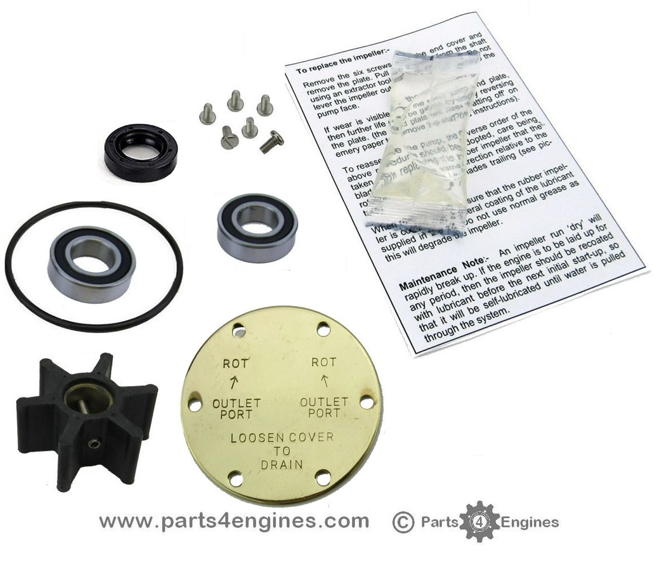 Yanmar 2GM20YEU & 3GM30YEU Raw water pump rebuild kit - parts4engines.com