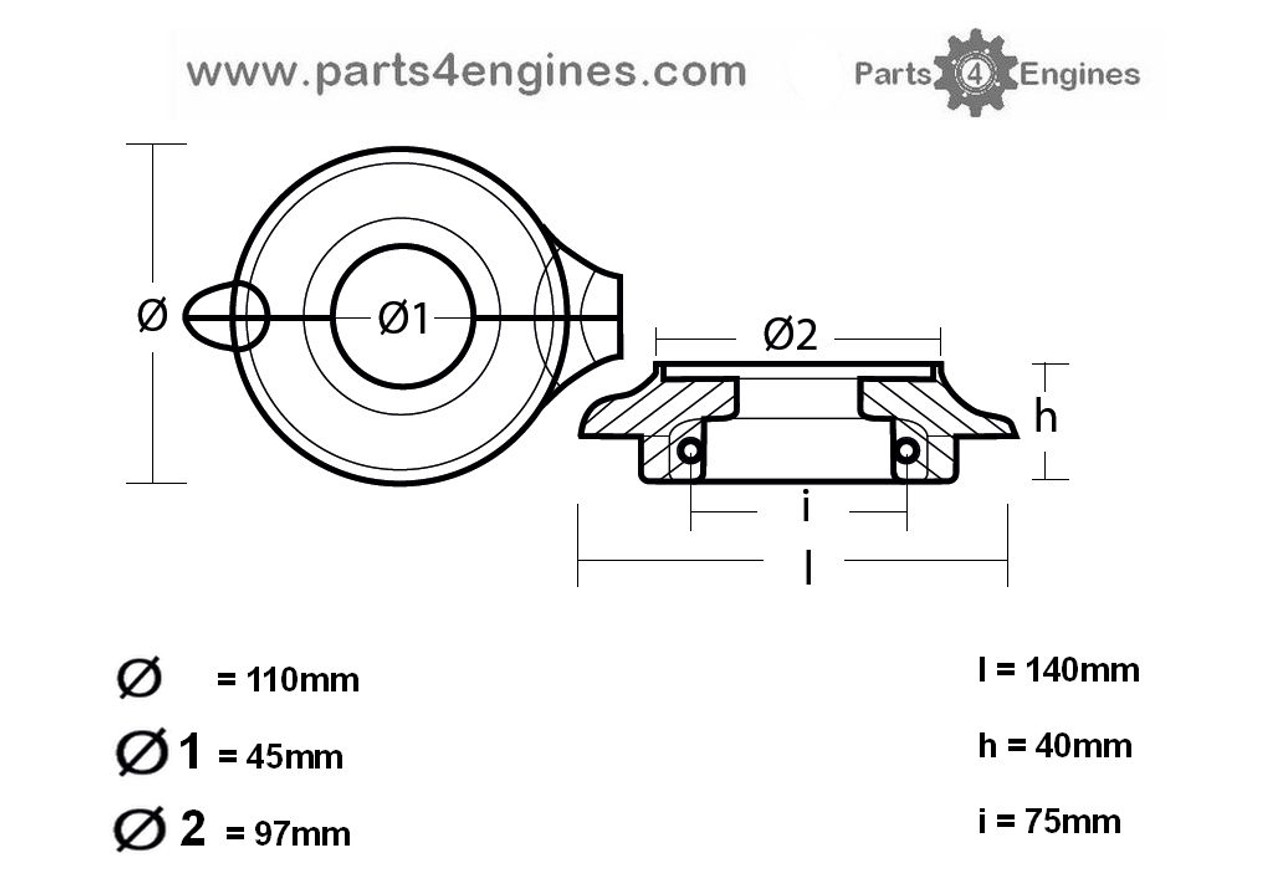 Volvo Penta split collar anode form, parts4engines.com