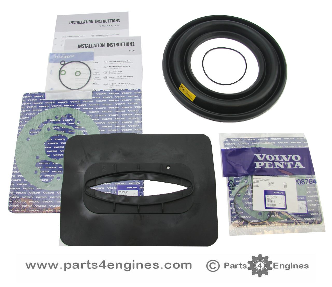 Volvo Penta Rubber Diaphragm  and gasket kit for 110S, 120S, 130S, 150S and MS25S  sail drive