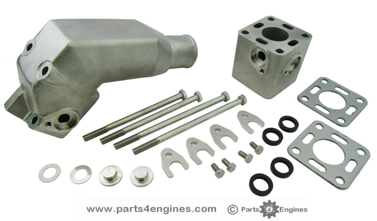 Volvo Penta 2002 Stainless Steel Exhaust pipe outlet elbow with riser, from parts4engines.com