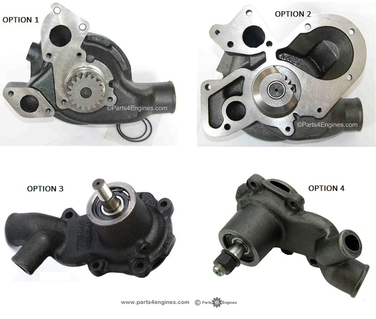Perkins Phaser 1004 all water pumps options - parts4engines.com