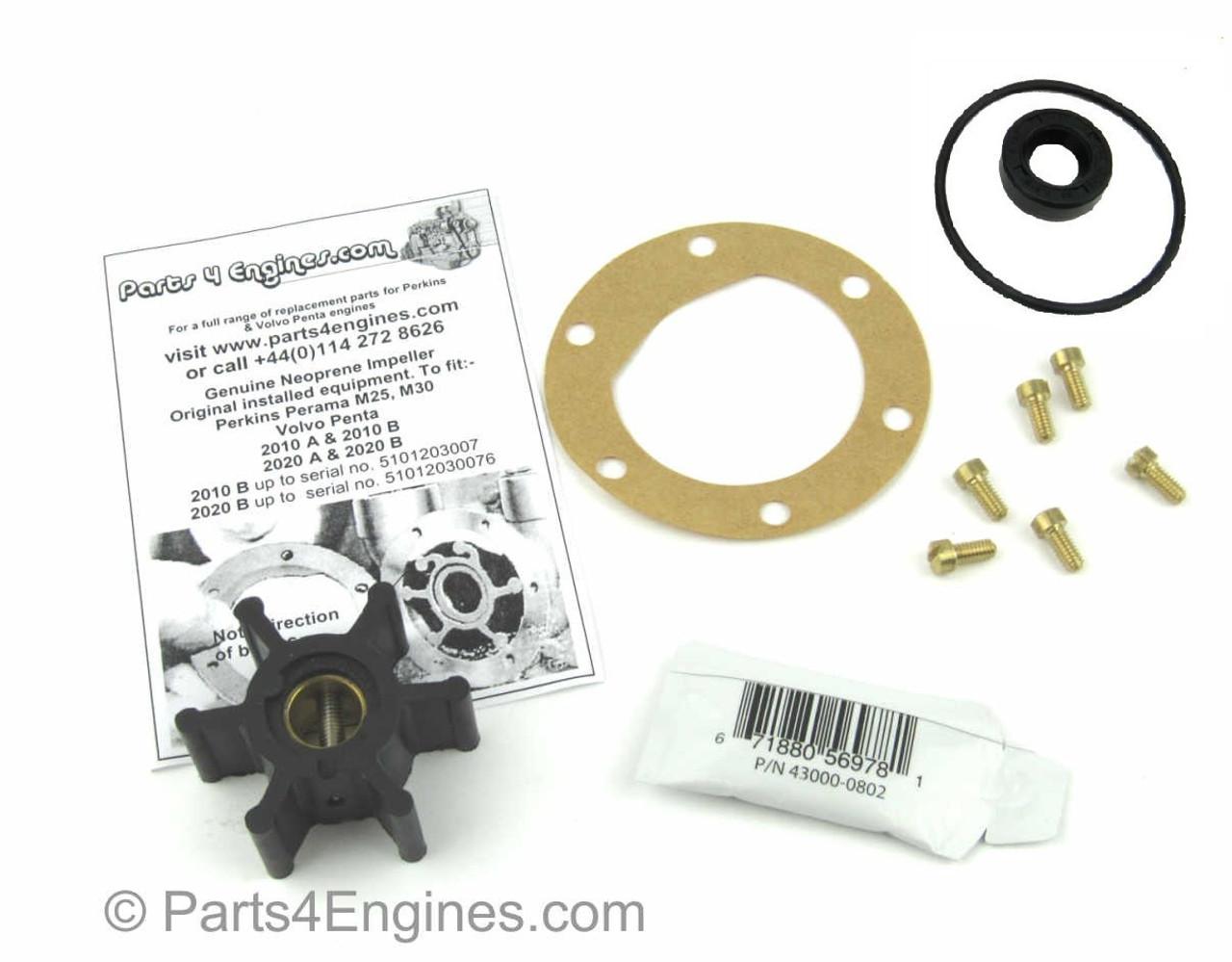 Perkins Perama M25 raw water pump service kit - parts4engines.com