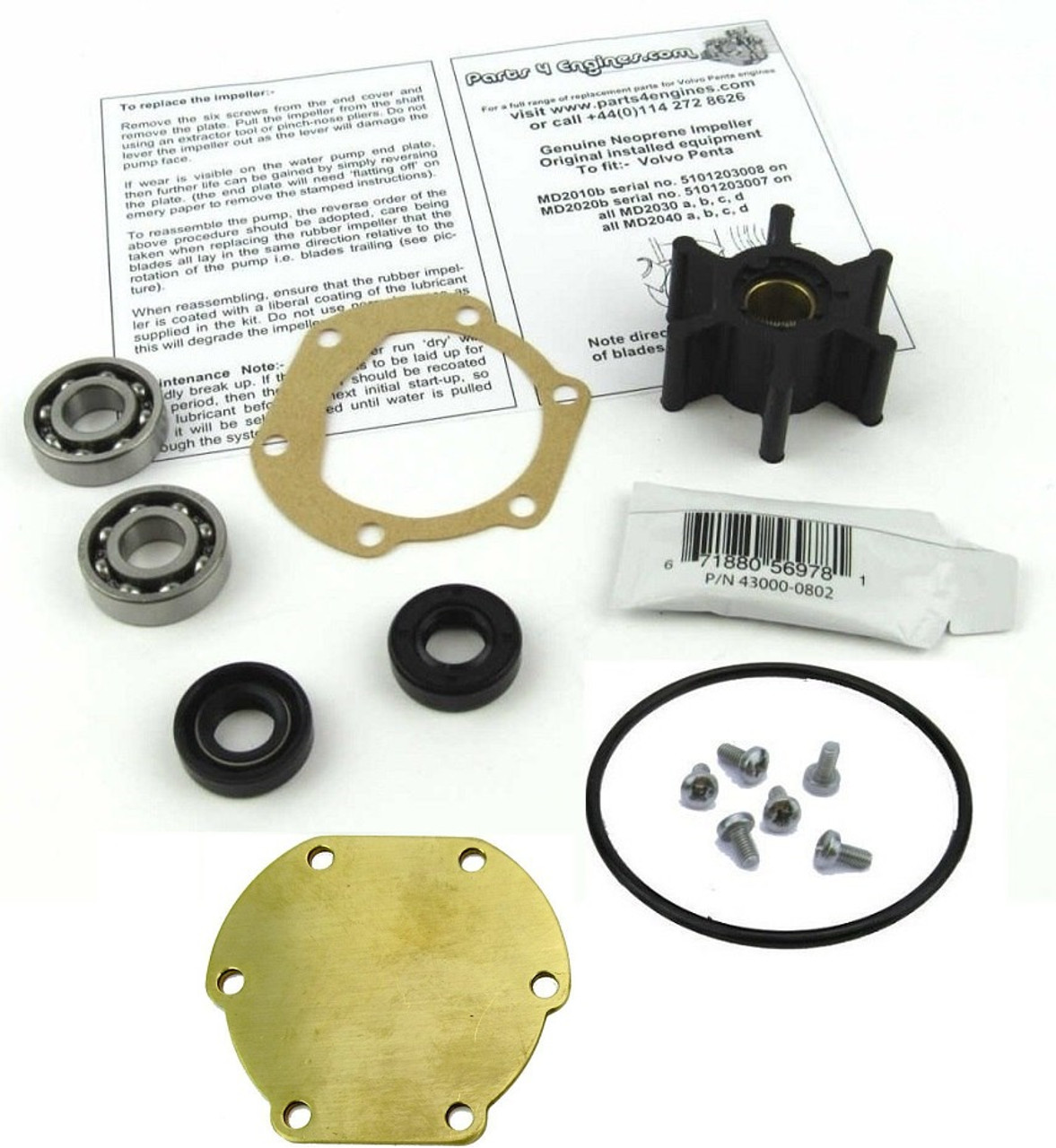 Volvo Penta Md2040 Raw Water Pump Impeller And Service Kit