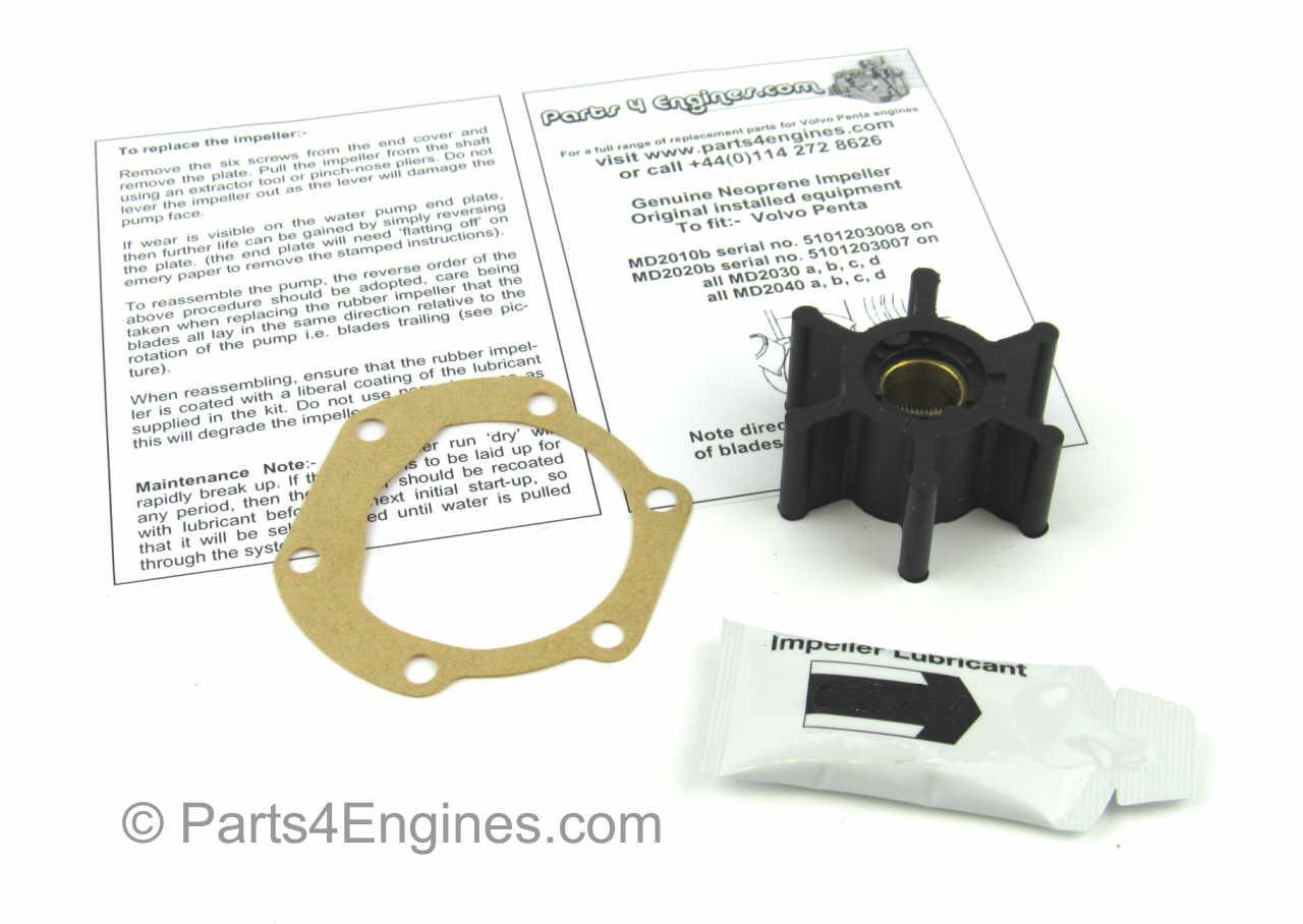 Volvo Penta D2-40 Raw water pump impeller kit - parts4engines.com