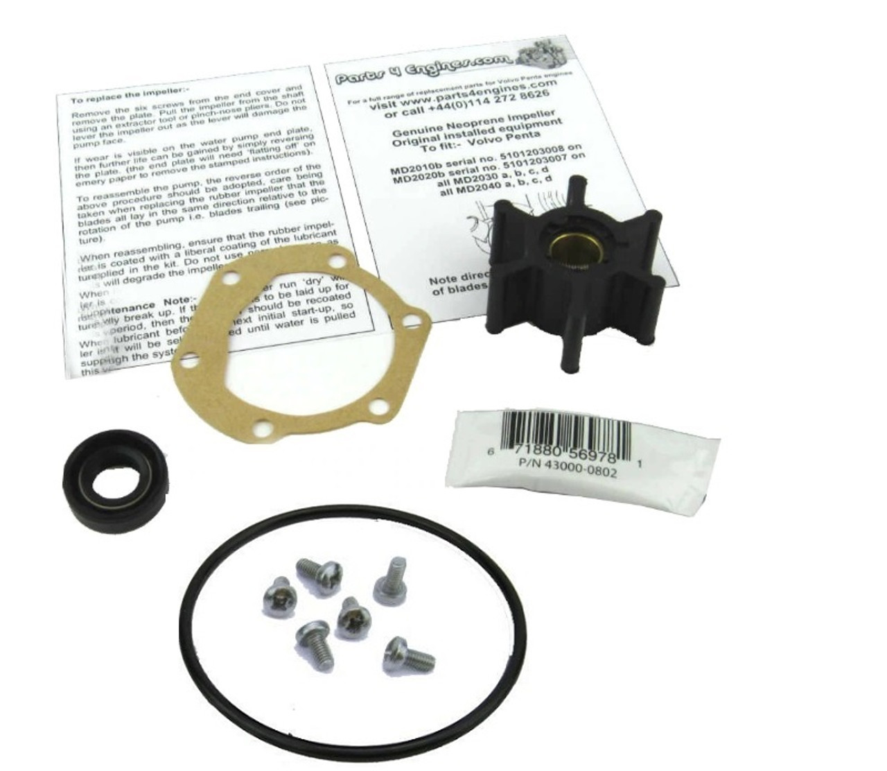 Volvo Penta MD2020 raw water pump late service kit from Parts4engines.com
