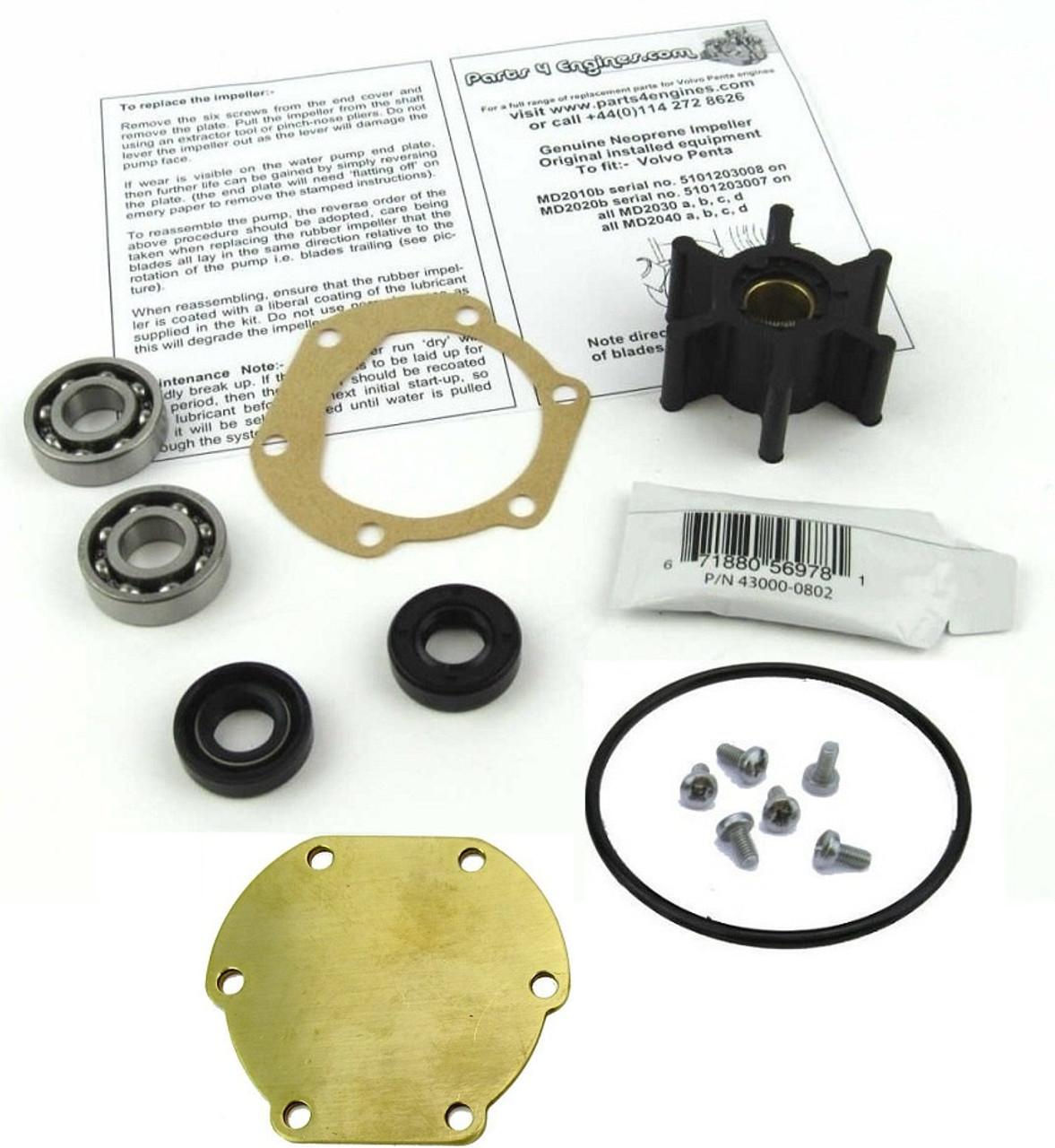 (Late) Volvo Penta MD2010 raw water pump rebuild kit - Parts4engines.com