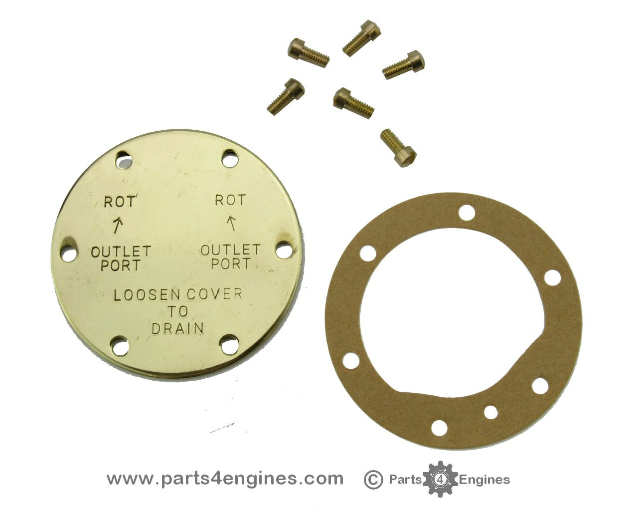 Perkins M90 raw water pump end cover kit from parts4engines.com