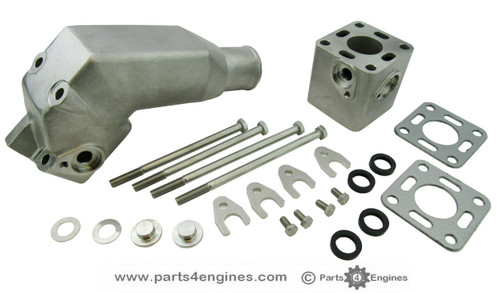 Volvo Penta 2001 Stainless Steel Exhaust pipe outlet elbow with riser, from parts4engines.com