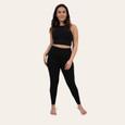 Woman in black comfy leggings