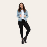 Woman in cozy casual leggings outfit