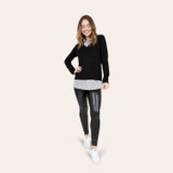 Women's leatherette leggings fall outfit