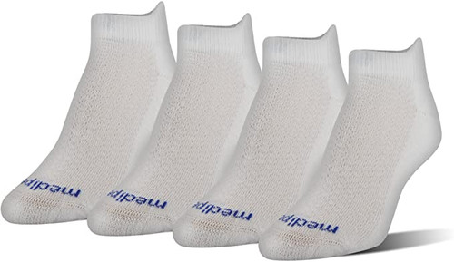 Medipeds Half Cushion Low-Cut with COOLMAX® Fiber, 4 Pair (White)