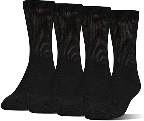 Medipeds Half Cushion Extra Wide Crew with COOLMAX® Fiber, 4 Pair(Black)