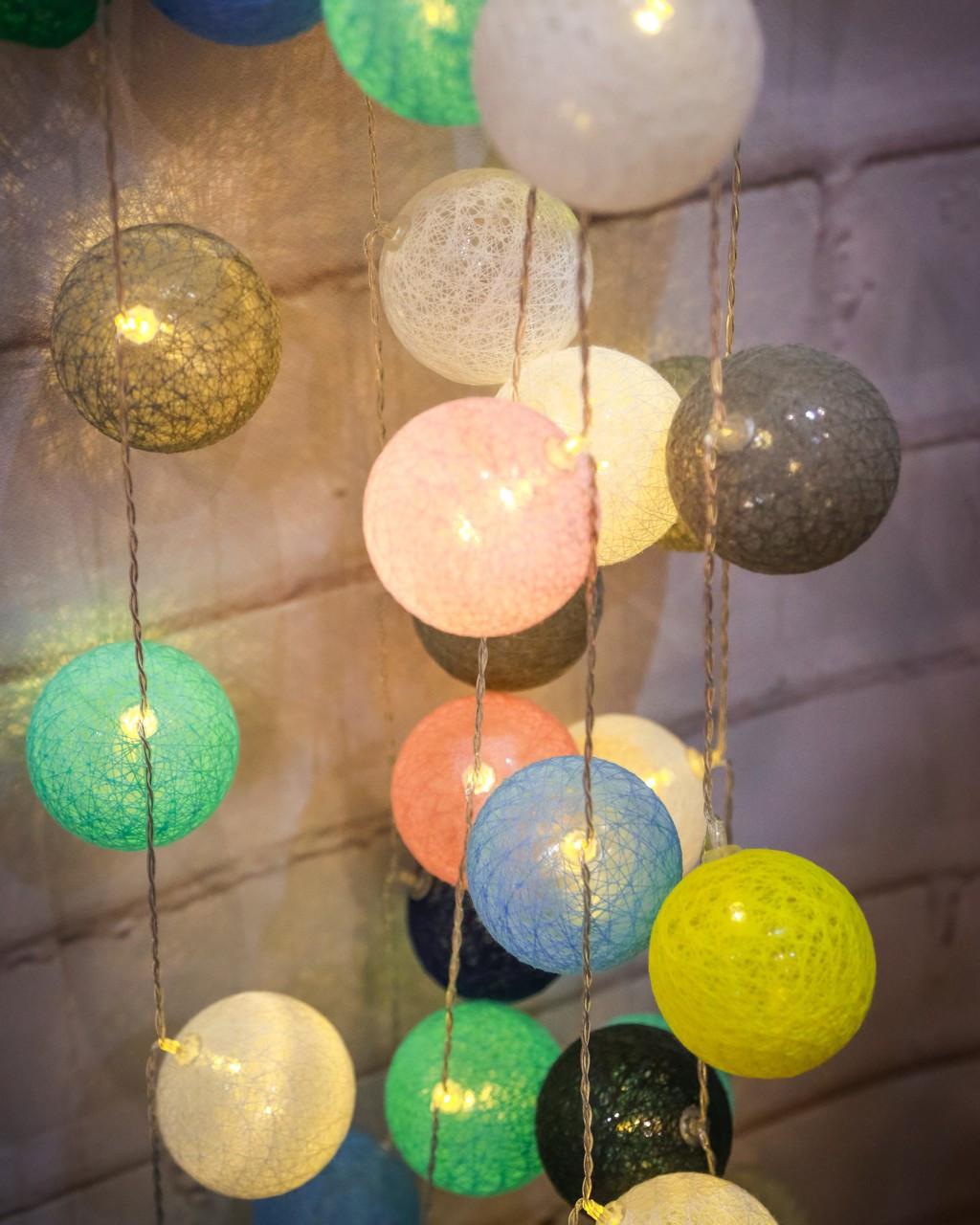 the latest b552f 8c299 Cotton Ball Fairy Lights String ~ Greens*
