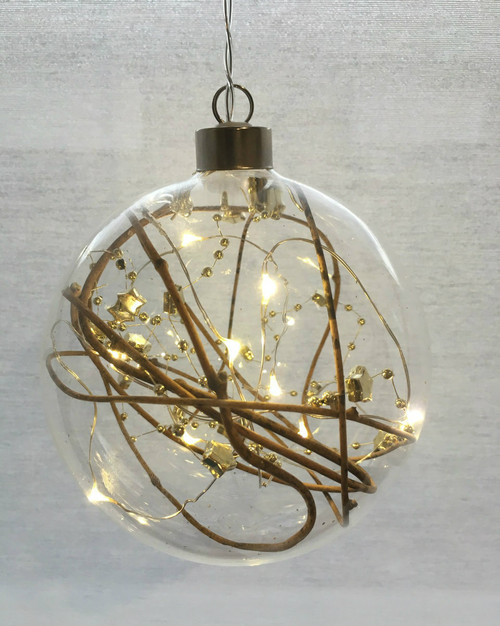 Festive Gold Sphere Hanging Glass Light *