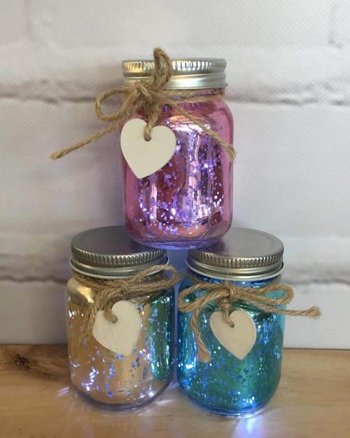 Mini Pastel Sparkle Jars ~ set of 3 *