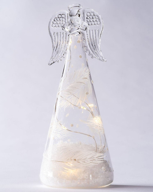 Clear Glass LED Angels with White Feather Print. Three Sizes*