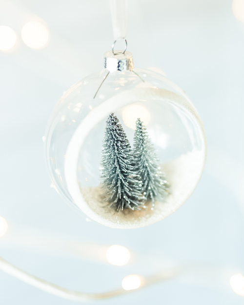 Open Glass Globe with Small Frosted Tree*
