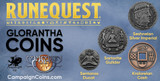 New RuneQuest - Glorantha coins, from our friends at Campaign Coins