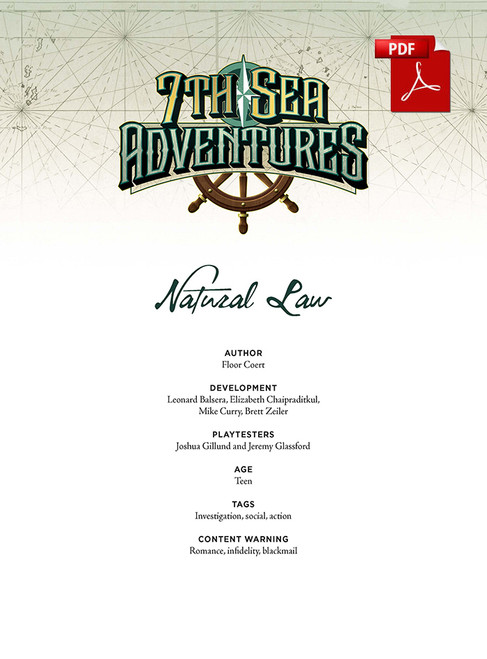 7th Sea Adventures - Natural Law - Front Cover