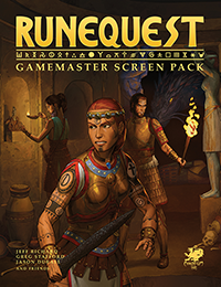 RuneQuest: Gamemaster Screen Pack Front Cover showing an adventuring party