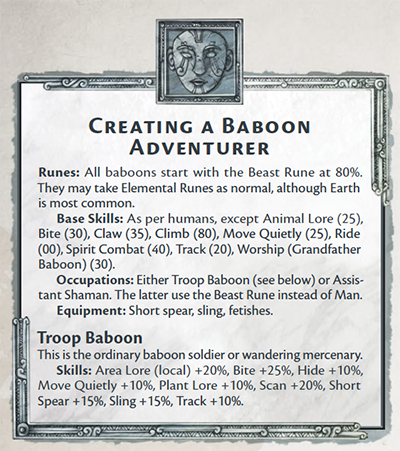 Creating a Baboon Adventurer