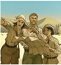 Three investigators looking at a map