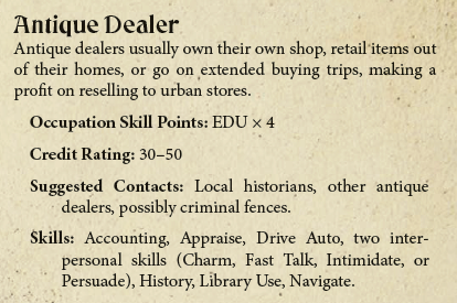 Antique Dealer - Occupation Example