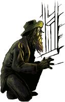 A Hobo peering in a window
