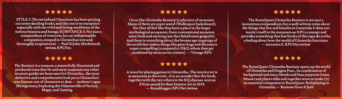 RQ Glorantha Bestiary Critics Reviews