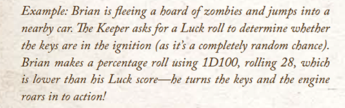 Rules Example of using luck