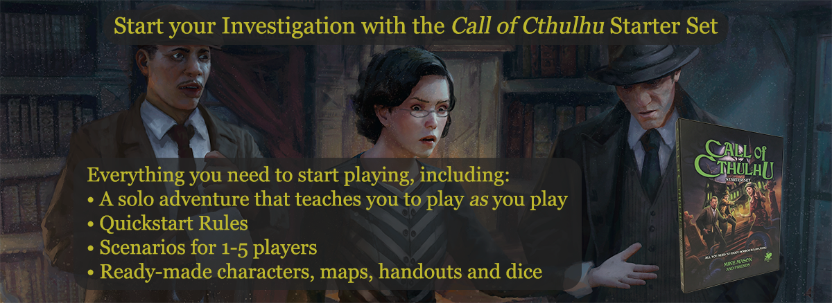Three investigators from the Call of Cthulhu Starter Set