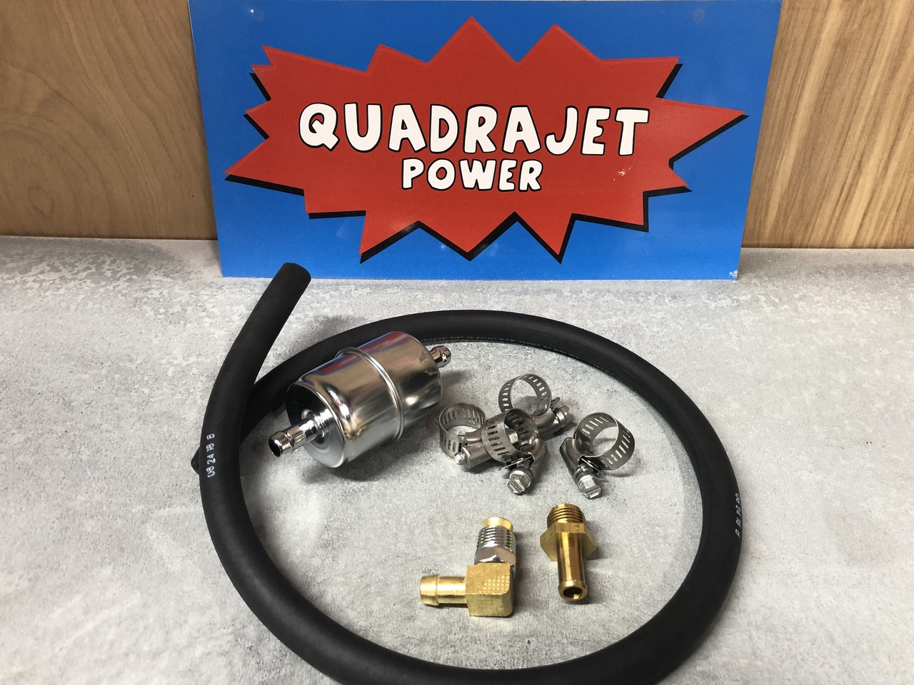"3/8"" Fuel line hose kit  clamps, hose, fittings NO filter"