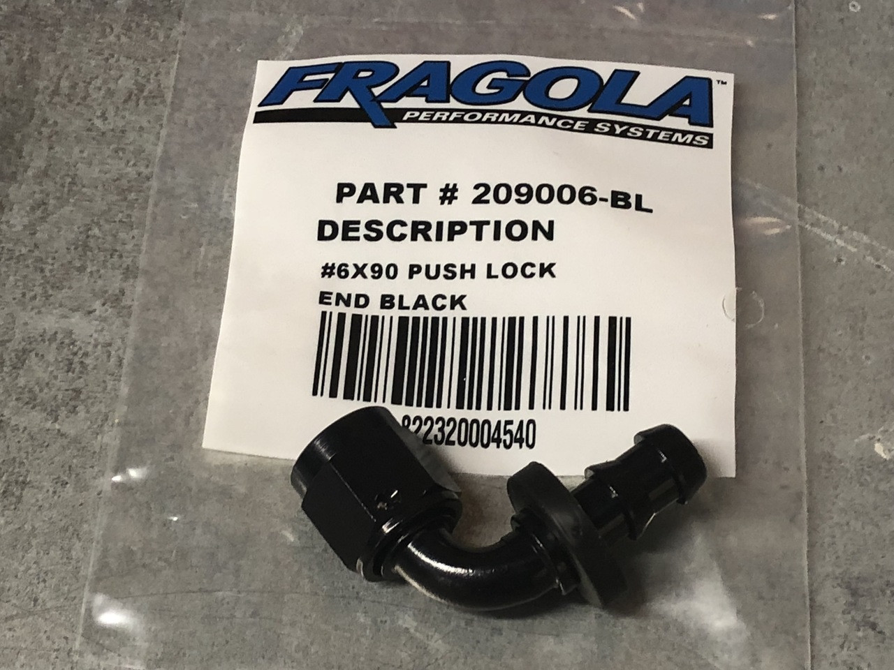 90 Degree Race Hose Ends – Series 8000 Push-Lite -6AN