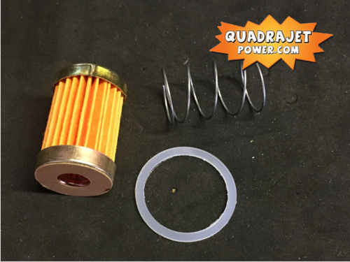 Fuel filter kit, short. Filter, late inlet gasket, spring