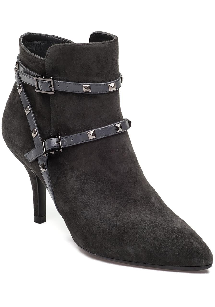 2a36ffde79f4 Korey Grey Suede Bootie - Jildor Shoes