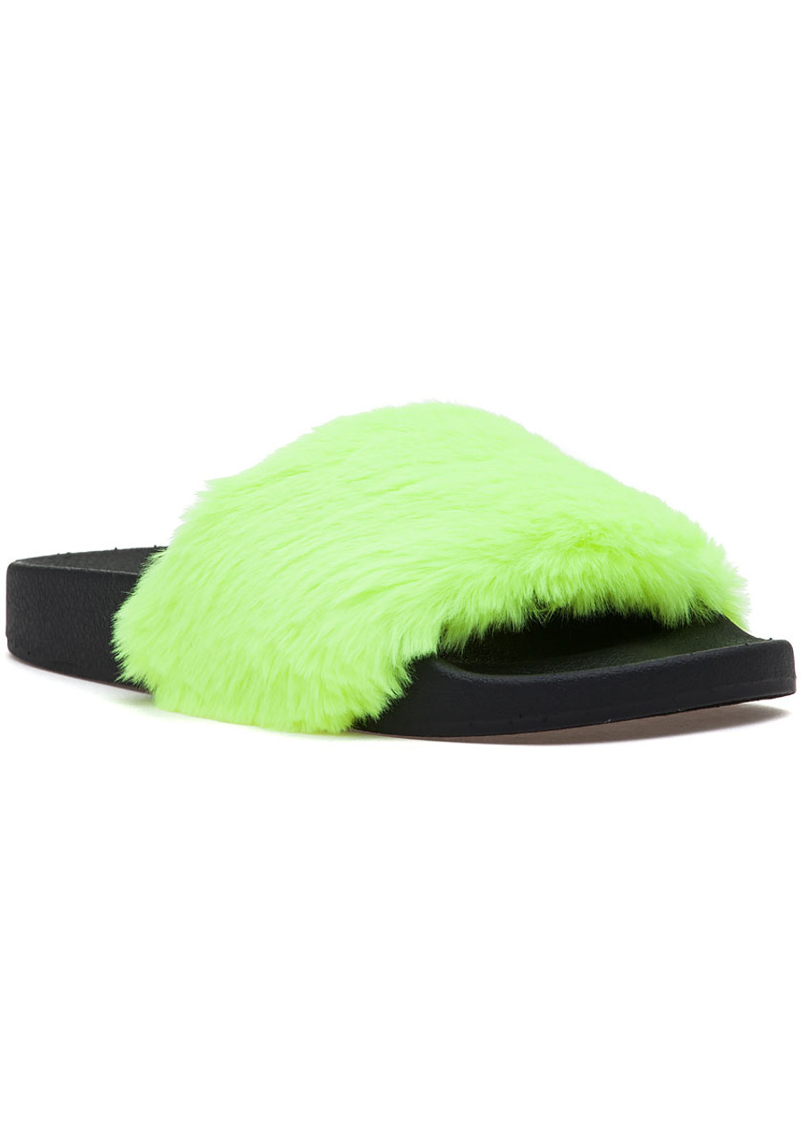 4025b42e48b Softey Neon Yellow Fluffy Slide